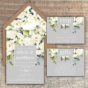 WEDDING INVITATIONS,Personalised GREY & IVORY ROSE Watercolour packs of 10