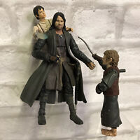 Lord Of The Rings Mixed Figure Bundle X 3 Aragorn Frodo & Merry Hobbits Retro