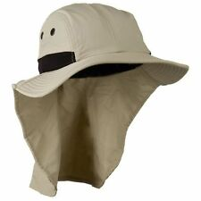 KHAKI BEIGE Large Flap Bill Hiking Sun Protection Hat with Tail Neck Cover