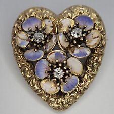 ANTIQUE EDWARDIAN ART NOUVEAU 14K GOLD ENAMEL DIAMOND HEART FLOWER PENDANT PIN