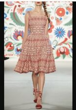 Lena Hoschek Anthropologie Ewa Embroidered Red Creme Fit and Flare Dress S NWT
