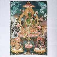 "36"" Tibet Tibetan Cloth Silk Green Tara Guanyin Kwan-yin Tangka Thangka Mural"