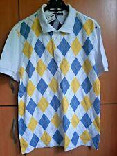 HANG TEN Men's Knitted Cotton Shirt Pattern ROMB:White /Yellow /Blue.Sz L