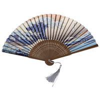 Japanese Handheld Folding Fan, with Traditional Japanese Ukiyo-e Art Prints TS
