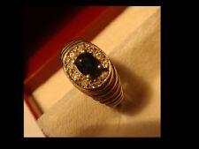 Diamantring mit Saphir 0,40 Karat Oval in 585er Gold und 10 Brillanten