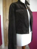 Ladies NEXT brown real suede Leather Jacket size UK 12 10 denim style cropped