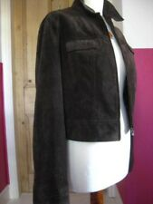 Ladies NEXT brown suede Leather Jacket size UK 10 8 denim style cropped short