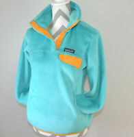 Patagonia Re-Tool Snap-T Plush Fleece Pullover Turquoise / Yellow Women Size S