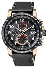 CITIZEN Eco Drive AT8126-02E rose Herrenuhr Chronograph Chrono Leder schwarz neu