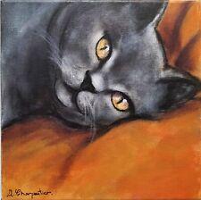 Divine eyes - chat chartreux tableau peinture ORIGINAL - Isabelle CHARPENTIER