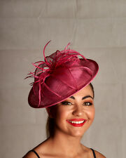 Round Sinamay Pink Fascinator with Sinamay Leaves & Feathers - BNWT A013