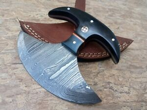 Hunting Nest Handmade Damascus steel hunting ULU knife BULL HORN handle 738