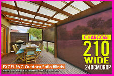 CHARCOAL 210CM X 240CM HEAVY DUTY PVC Tinted PATIO CAFE BLIND Outdoor UV Awning