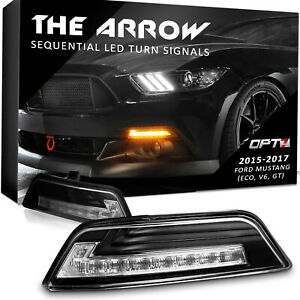 OPT7 Mustang Clear Turn Signal DRL Sequential White Amber LED OEM 2 Replacements