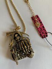 Betsey Johnson Cool BLACK Death Skull Pendant Necklace Sweater Chain-BJ59444