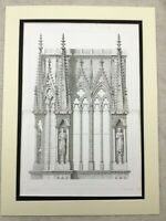 Antique Engraving Large French Architectural Print Reims Cathedral Gothic Spires