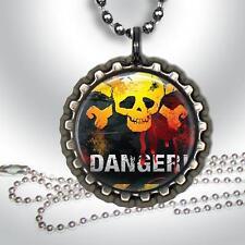 "Danger Skulls Bottle Cap Necklace & 24"" Chain Handcrafted Jewelry"