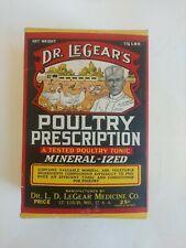 NOS VINTAGE 1934 DR LEGEAR'S POULTRY VETERINARY MEDICINE PRESCRIPTION 1.25 Lbs