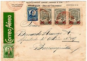 COLOMBIA - SCADTA - 90c COVER W/ PROVISIONAL STAMPS - MEDELLIN - Sc C51 - 1923 R