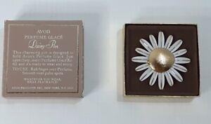VINTAGE AVON 1971 DAISY BROOCH PIN PERFUME GLACE W/ORIGINAL BOX