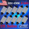 10X Ultra Blue 42MM 5050 LED Festoon Dome Interior Light bulbs DE3425 6411 6418