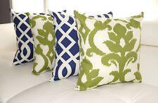 Basalto Kiwi Green and Kirkwood Admiral Navy Outdoor Throw Pillow - Set of 4