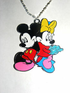 "Mickey & Minnie Mouse 2"" Tall  large pendant charm Love is Grand Necklace"