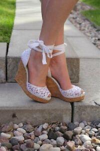 Nine West Women's White Lace Wedge Sandal Size 7 Peep Toe Lace up Wedding