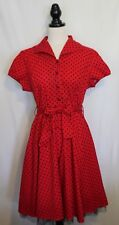 HEARTS & ROSES ~ Rocker Red w Black Polka Dots Stretch Cotton 50's Look Dress 18