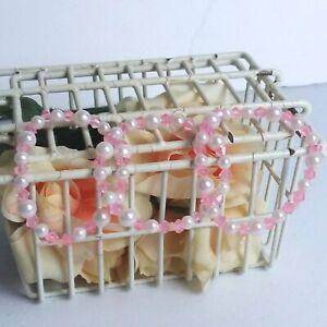 "Handcrafted Bracelet 8"" Stretch Light Pink White Beads USA Set of 3"