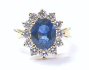 Natural Blue Sapphire & Diamond Anniversary Ring 18Kt Yellow Gold 3.86CT