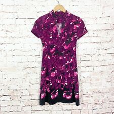 Elie Tahari Floral Short Sleeve Button Front Dress Womens Size 2