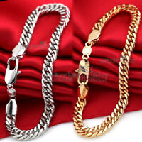 18K GOLD FILLED CUBAN CURB CHAIN SOLID MENS WOMEN RING LINK BANGLE BRACELET 20CM