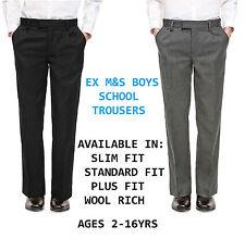 Ex M&S Boys Black Grey School Trousers Regular/ Plus/ Slim Fit Age 2-16