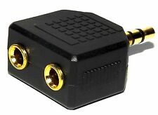 High Quality Mini 3.5mm Stereo Headphone Splitter - Gold Male to Dual Female