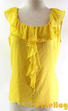 St. John Beige Yellow Ruffle Tank Sleeveless Top Size S