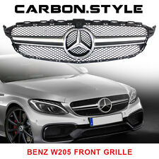 Silver Front Grille Grill Mercedes BENZ W205 C-class C63AMG Look 2015+