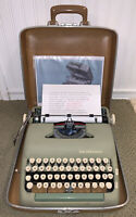 1957 Seafoam Green Smith Corona Silent Super 5T Portable Typewriter & Case PICA