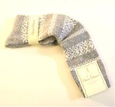 Elena Solano Italy Ladies Knee Socks Angora Blend Snowflake Stripe Grey
