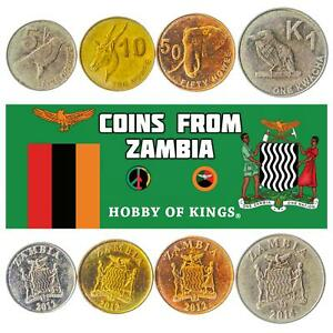 SET OF 4 COINS FROM ZAMBIA. 5, 10, 50 NGWEE 1 KWACHA. AFRICAN CURRENCY 2012-2017