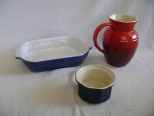 EMILE HENRY FRANCE RAMEKIN BAKING DISH & LE CREUSET PITCHER LOT OF 3