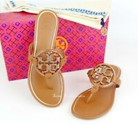 NEW Tory Burch Miller Metal Logo Thong Leather Sandals, Tan/Rose Gold, US 8.5