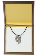 Chinese Crested - silver covered necklace with dog in box, quality, Art Dog IE