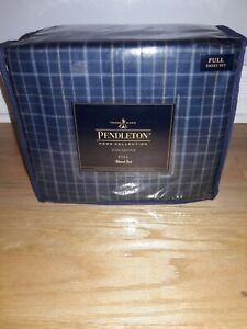 Pendleton Home Collection 100% Cotton Seldon Flannell Full Sheet Set in Navy