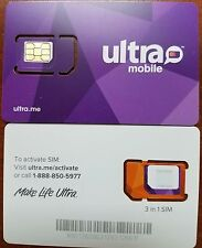 Ultra Mobile Triple Cut Simcard. Tmobile Network. Prepaid Plan
