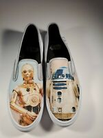 Sperry Cloud Star Wars R2-D2 C-3PO White Canvas Slip On Sneakers Shoes Mens 9.5