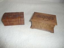 2 ANTIQUE BLACK FOREST CARVED TRINKET FRIENDSHIP BOXES EDELWEISS - AN IDEAL GIFT