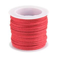 Encaje Cordón Plano de Imitación de Gamuza (3mm) Salmón Hilo Rojo-se vende como un carrete de 5 metros (F72)