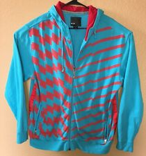 OAKLEY Men's Large Full Zip Hoodie Sweatshirt Teal Red Blue Stripes Geometric