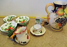 LOT OF (7) ITALIAN POTTERY PIECES - Olive dish, creamer, pitcher, cup/saucer +